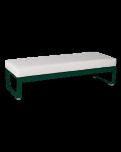 Fermob Bellevie 2-Sitzer-Polsterhocker-Zederngrün MK-Grauweiß 81